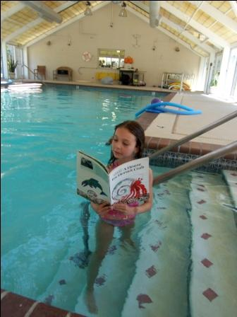 "Eden gets as close to ""underwater reading"" as she can get!"
