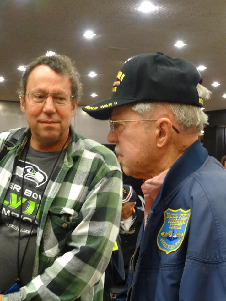 Buell and Joe Hembree get ready to fly to Washington, DC for the WWII honor flight.