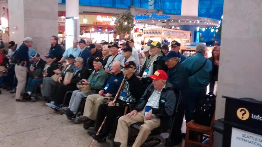 October Honor Flight gathered at Seatac, photo by Joe Hembree
